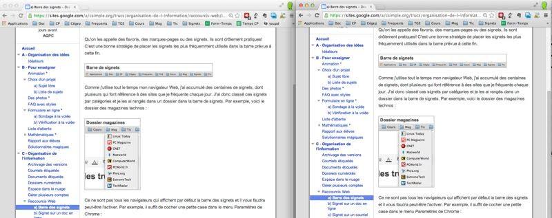 Deux vues sur un même document